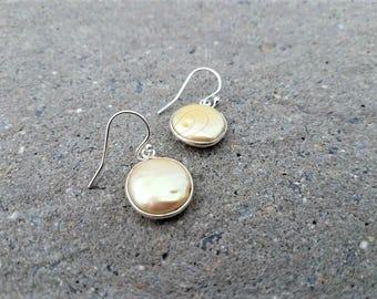 Pearl Earrings, Golden Pearl Earrings, Pearl Dangle Earrings, Golden Pearl Drop Earrings