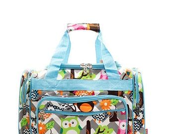 Personalized Owl Duffel Bag Monogram Overnight Bag