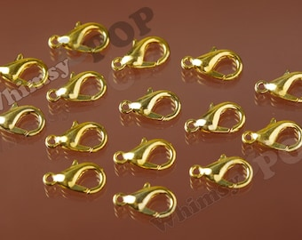 Brass Lobster Clasp, Gold, 7mm x 12mm, Hole: 1.2mm (R2-155)