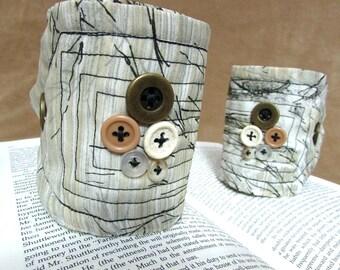 "Tribal Cuff Bracelets, Set of 2 Boho, Bohemian Fabric Cuffs, Textile Bracelets Autumn Tree / Winter Tree ""Bark from the Branches #6 (Set)"""