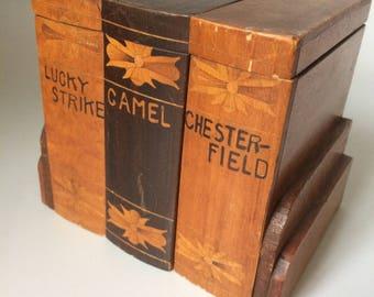 Vintage Folk Art Carved Wooden Cigarette Box Lucky Strike