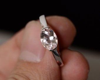Natural Morganite Ring Oval Ring Sterling Silver Ring Solitaire Ring Pink Gemstone Ring