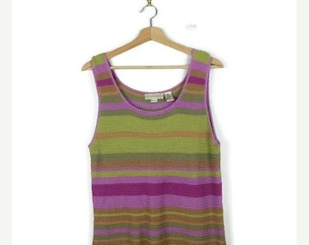 ON SALE Pink/Green Stripe knitted Sleeveless/ Tank top/Long