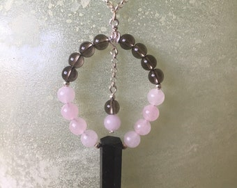 Smokey Quartz Wand Sterling Silver Necklace, with Rose & Smokey Quartz Accents