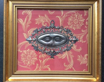Eyes exvoto, eyes votive,votive offer in vintage frame