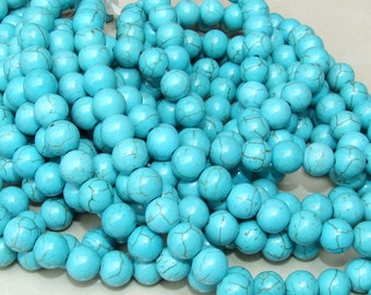 Magnesite Round  Beads  - Turquoise Blue Green - 14mm - 15 inch Strand