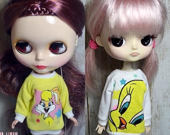 Looney Tunes Tweety Lola Bunny sweatshirt for Dal,Blythe,Icy doll obitsu 21cm 23cm pure neemo XS