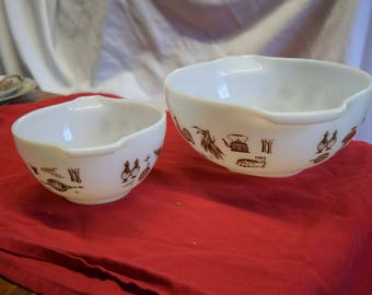 White Vintage Pyrex Bowls with Gold Markings and Cinderella Handles