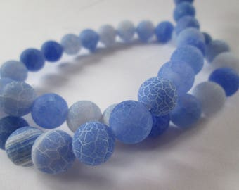 blue dragon veins agate round 10 mm 10 beads