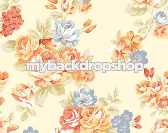 2ft x 2ft Vintage Floral Wallpaper Photography Backdrop - Product Shot Prop -   Vinyl or Poly Photo Background - Item 1021