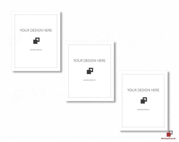 WHITE FRAME MOCKUP / 8x10 / Set of 3 / Frame Mockup /  White Photo Frame Mockup / Instand Download / Frame Stockphoto / Mock Up Frame