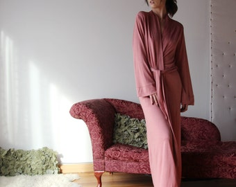 womens long robe with pockets in sweater knit wool blend - lounge wear lingerie and sleepwear range MALLARD - made to order