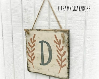 CLEARANCE Initial sign, wood monogram sign, mother's day gift, spring color sign, wood wall art, rustic wood sign, wedding gift