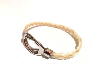 Genuine horsehair bracelet with (your) horse steel infinity clasp
