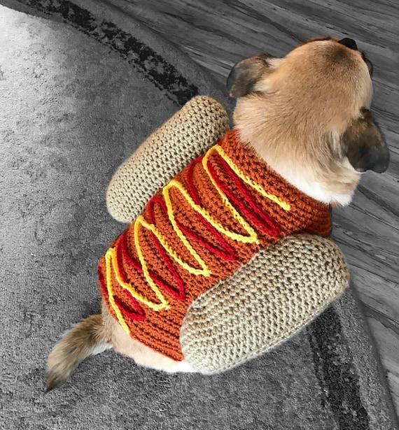 Hotdog Pullover Hund Kostüm häkeln Hundepullover Welpe Shirt