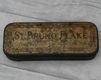 Vintage St Bruno Flake Tin, Tobacco Tin, Ogden's Storage Container