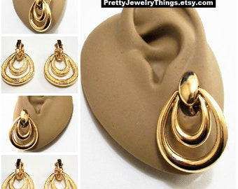 Avon Door Knocker Hoops Clip On Earrings Gold Tone Vintage 1996 Double Loop Open Oval Dangle Rings Large Dome Button