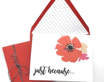 Just because card, friendship card, thinking of you card, elegant card