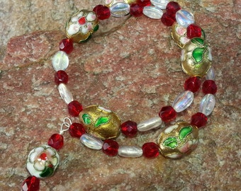 Double wrap memory wire Bracelet with GOLD FABREGE Egg, red and clear Crystal beads. #257