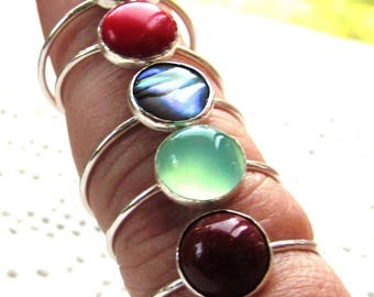Sterling Silver Solitaire Rings set with 8mm Cabochon Gemstones
