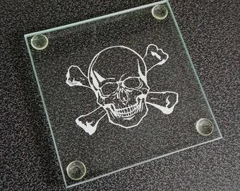 Skull & Crossbones Humorous Square Glass Drinks Table Coaster