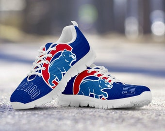 Chicago Cubs Fan Unofficial Custom White Shoes/Sneakers/Trainers - Ladies + Mens Sizes