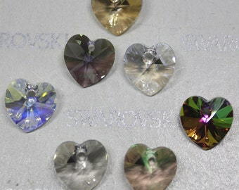 28 pieces Swarovski Crystal 6228 6202 Faceted 10mm Xilion Heart Pendant - CLASSIC SET