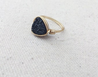 Black Trillion Cut Druzy Ring