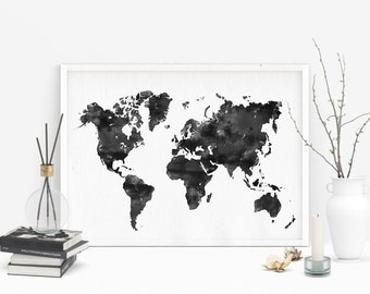 Black watercolor world map, Large printable map of world, Watercolor print, World map printable poster, Doorm art, Office decor