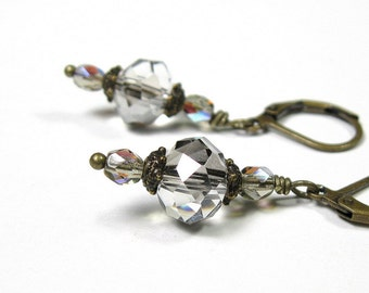 Victorian Style Dangle Earrings, Sparkling Czech Glass Earrings, Fashion Accessories, Brass and Glass Earrings