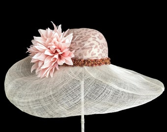 """Women's Kentucky Derby Hat, Bridal Luncheon Hat, Garden and Tea Party Hat, Sinamay Straw Hat in Ivory and Blush - """"Tropical Treasure"""""""