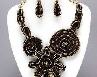 HAUTE COUTURE Runway Statement Black Bib Necklace and Earring Set. Eco-fashionable too! Romantic Birthday Gift