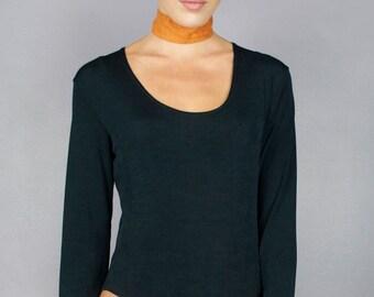 Vintage 80s Black Long Sleeve Scoop Neck Bodysuit