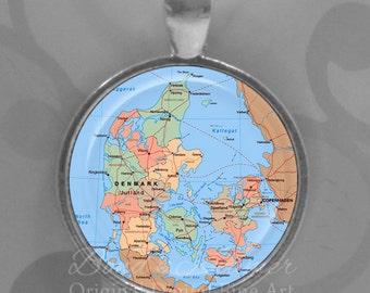 Map of Denmark Pendant ~ map jewelry