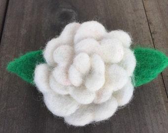 White Wool Felted Rose pin