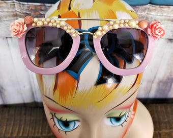 Roses and pearls Sunglasses | Embellished Sunglasses | Festival flower sunglasses