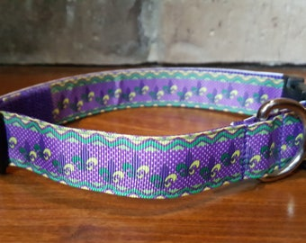 Mardi Gras Purple Green and Gold Fleur De Lis Dog Collar - Large
