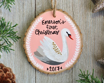 Swan Ornament, Baby Shower Gift Girl Idea, Fairytale Gift, First Christmas Ornament Personalized, Custom Ornaments for Kids, Baby Girl Gift