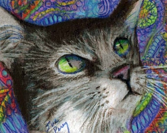 original art color  pencil drawing ACEO colorful cat abstract design