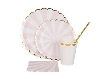 Tableware pink & gold stripe paper straws, cups, plates, napkins first birthday, Baby Shower, stripes carnival unicorn princess