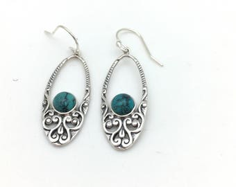 Sterling Silver and Turquoise Bali Dangle Earrings