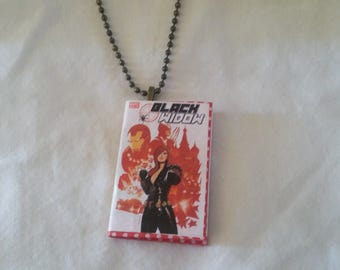 Mini Black Widow Comic Book Pendant - Mini Comic Book Pendant  - Mini Comic Book Pendant - Black Widow Comic Book Ornament- Mini Comic Book