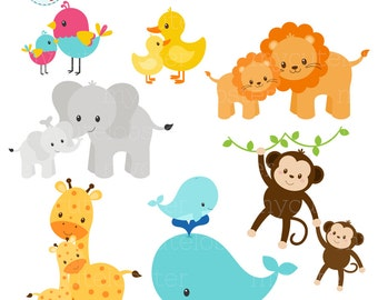 Mom and Baby Animals Clipart Set - clip art set of animals, mom, baby, cute animals - personal use, small commercial use, instant download