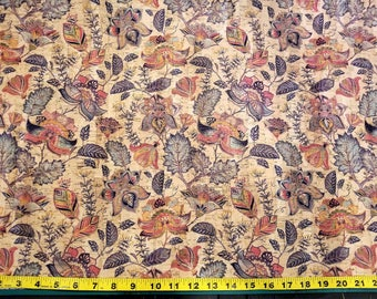 MAGIC GARDEN Print Cork fabric (U.S.A Supplier) - Made in Portugal - Vegan - Sustainable - Leather Alternative - P.E.T.A. approved