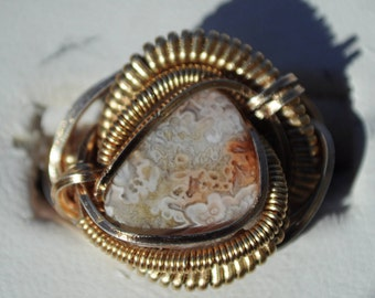 Size 4.75 Genuine Crazy Lace Agate Ring in Silver Plated Copper