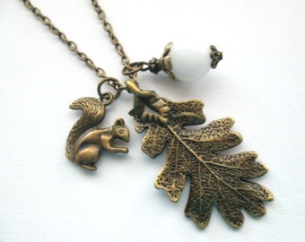 Oak leaf necklace, white jade necklace jewelry antique brass bronze squirrel charm necklace long chain vintage style woodland necklace