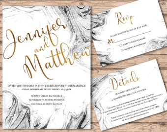 Marble Wedding Invitation Suite - Print at Home Files or Printed Invitations - Marble Watercolour Personalised Wedding Invite Suite