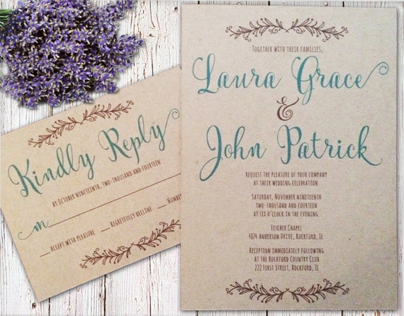 Kraft rustic wedding invitation color calligraphy font
