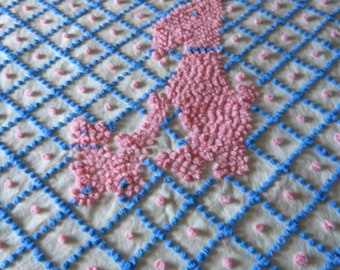 Baby VINtage chENILLE BEDSPREAD crib spread HANDMADE pink & blue