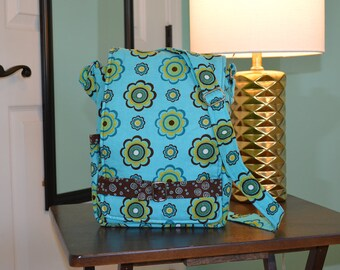 """Blue and brown """"Ragamuffin"""" crossbody purse for iPad"""